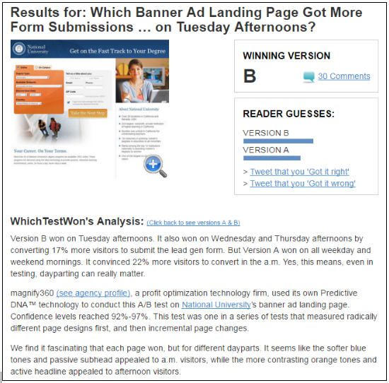 Whichtestwon's A/B testing case study