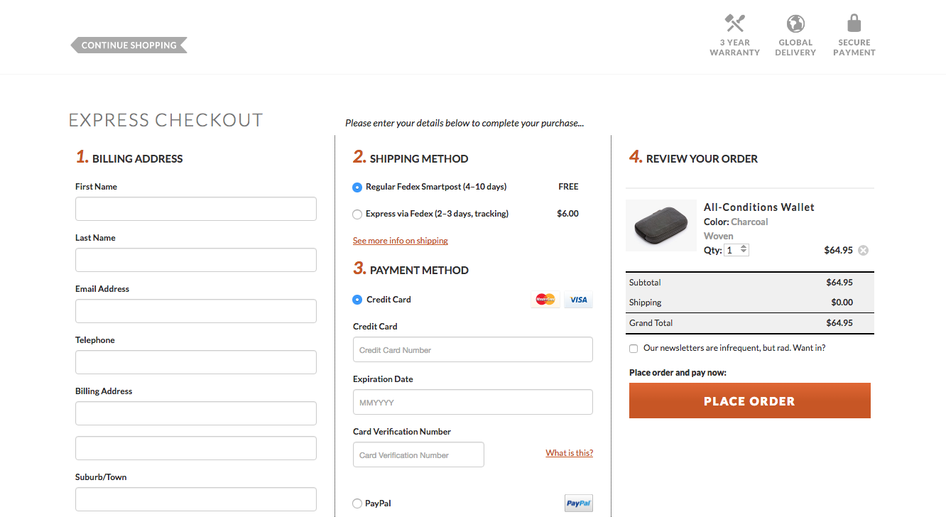 The example of one-page checkout process at Bellroy